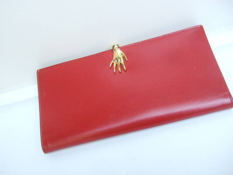a15c33a360a3 GUCCI Cherry Red Leather Wallet with Gilt Metal Hand Clasp ca 1970s For Sale  4