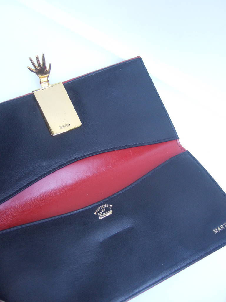 aff354bfea5f GUCCI Cherry Red Leather Wallet with Gilt Metal Hand Clasp ca 1970s For Sale  1