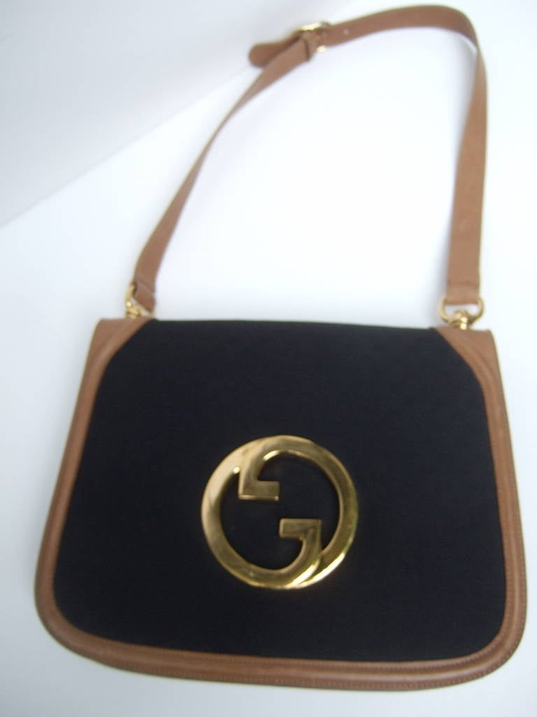 Gucci Italy Black Canvas Blondie Shoulder Bag Ca 1970 RzTWCDyq0K