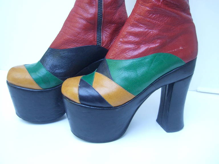 1970s Incredible Glam Rock Leather Platform Boots Made In