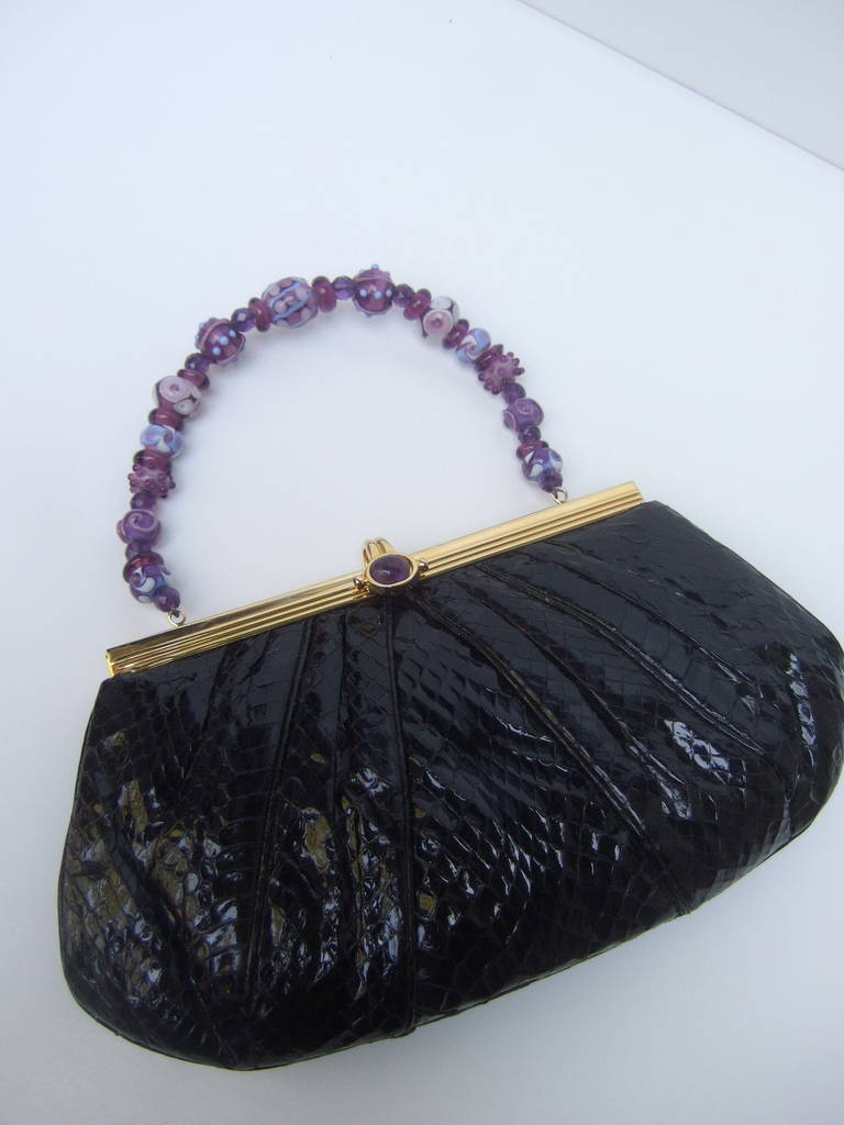 JUDITH LEIBER Black Snakeskin Evening Bag with Glass Beaded Handle In Excellent Condition For Sale In Santa Barbara, CA