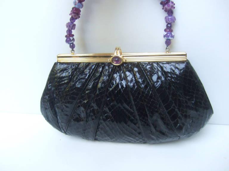 JUDITH LEIBER Black Snakeskin Evening Bag with Glass Beaded Handle For Sale 2
