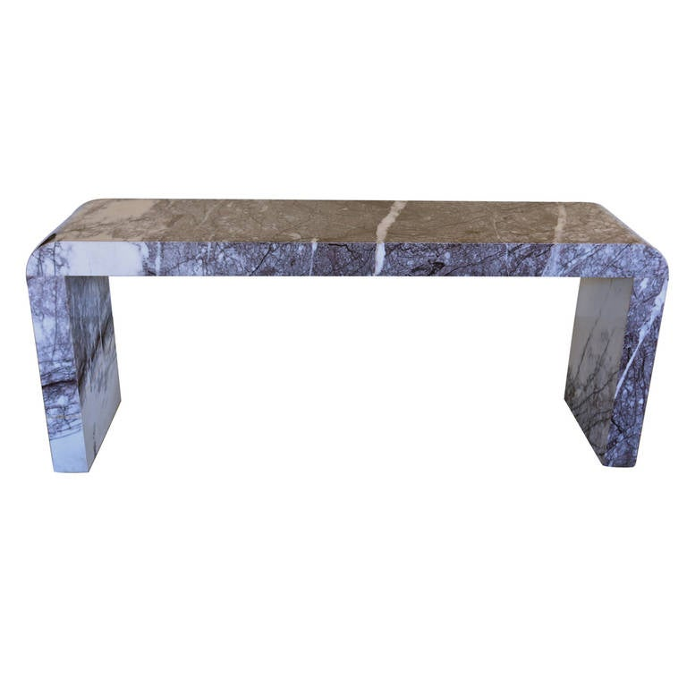 White Waterfall Tables ~ Custom marble waterfall console table at stdibs