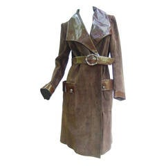 Gucci Brown Suede Trench Coat with Sterling Silver Buckle ca 1970