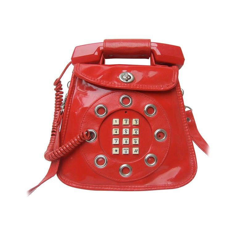 1970s Avant Garde Mod Red Vinyl Telephone Handbag For Sale