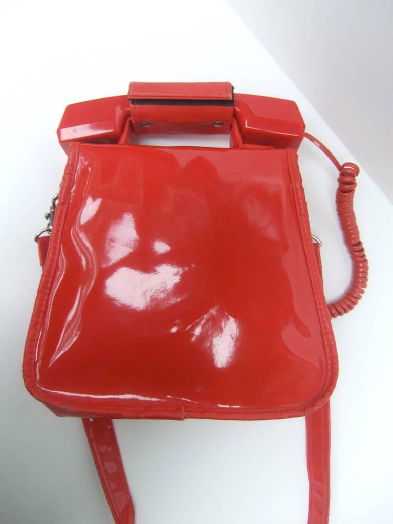 Women's 1970s Avant Garde Mod Red Vinyl Telephone Handbag For Sale
