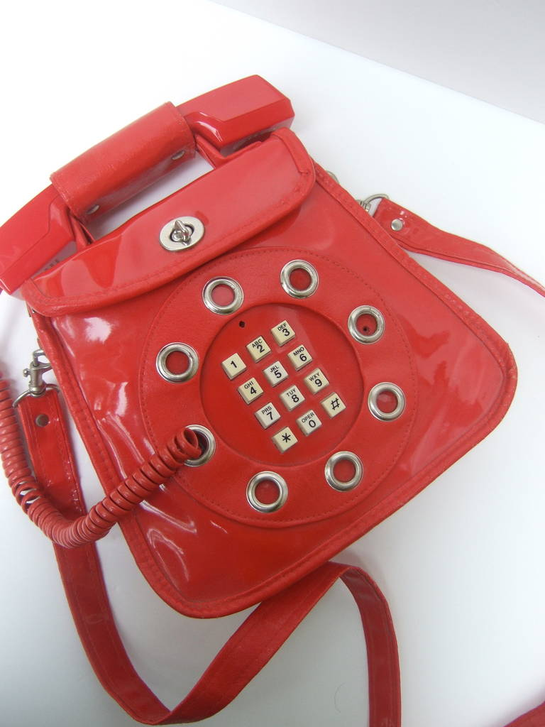 1970s Avant-garde mod red vinyl telephone handbag