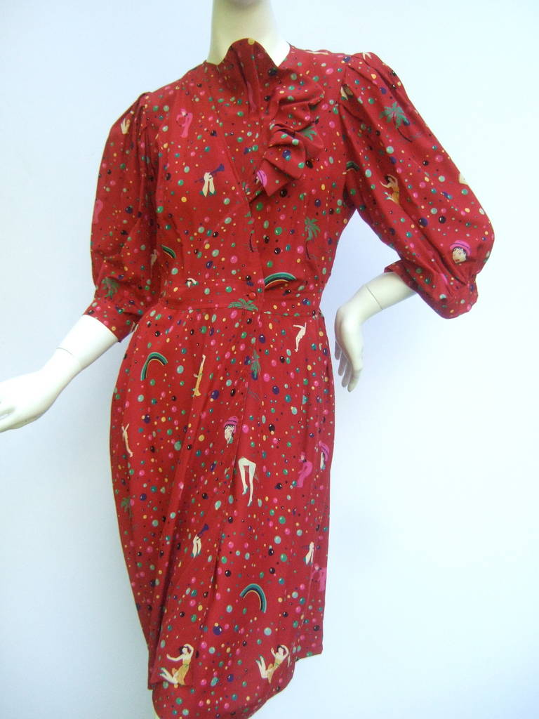Emanuel Ungaro Paris Crimson Silk Circus Print Dress Size 6  c 1980 5