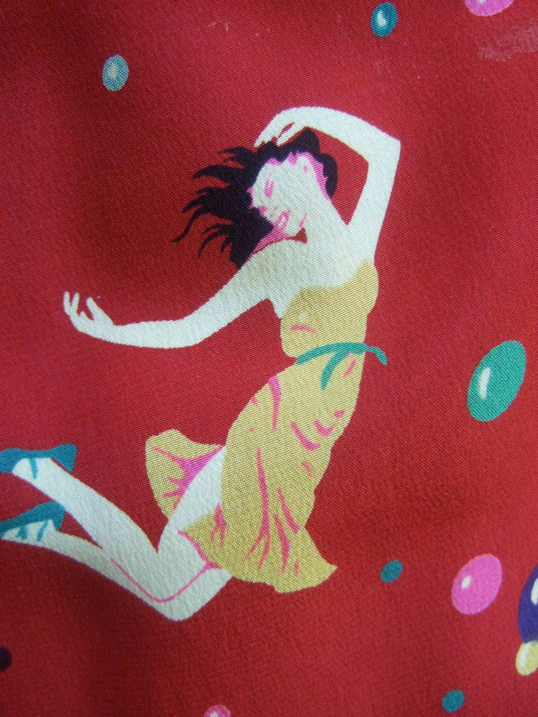Emanuel Ungaro Paris Crimson Silk Circus Print Dress Size 6  c 1980 4