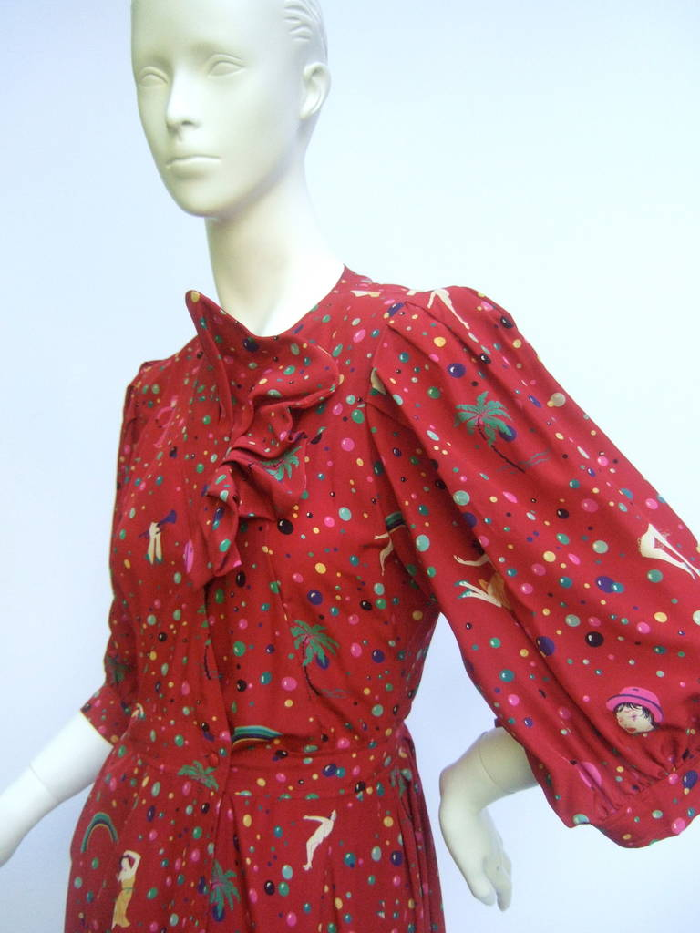Emanuel Ungaro Paris Crimson Silk Circus Print Dress Size 6  c 1980 7