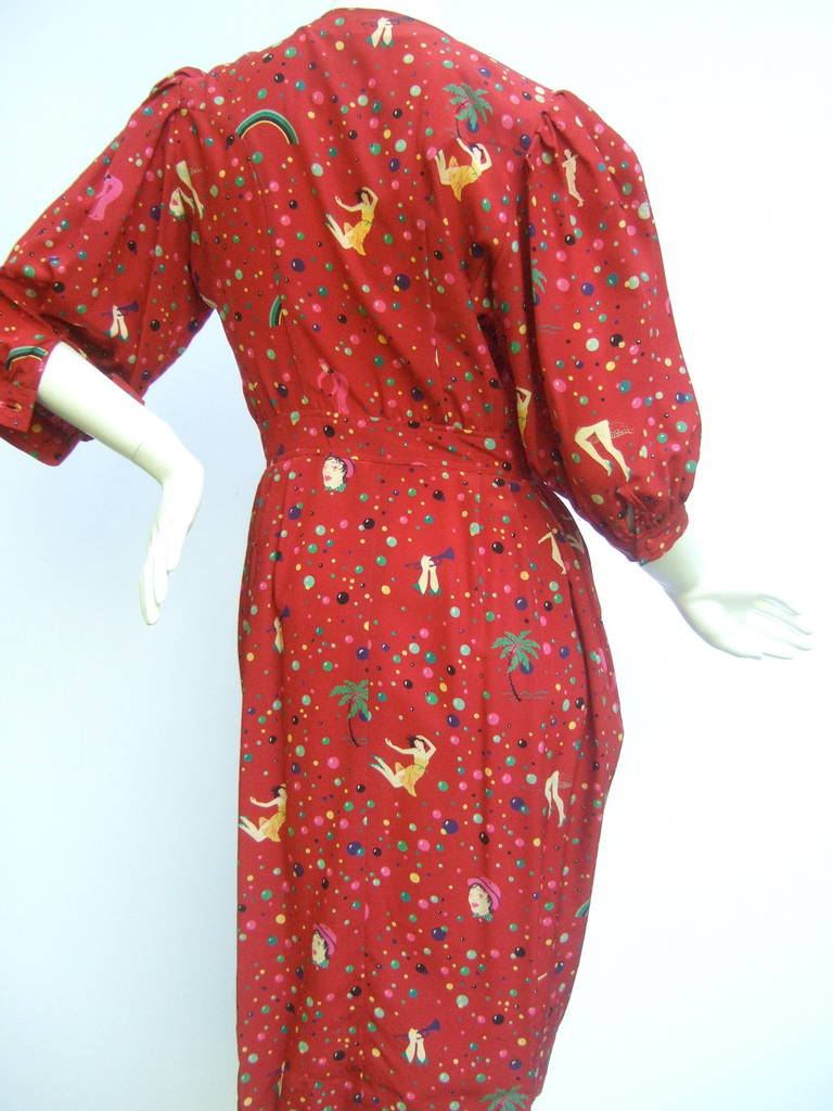 Emanuel Ungaro Paris Crimson Silk Circus Print Dress Size 6  c 1980 8