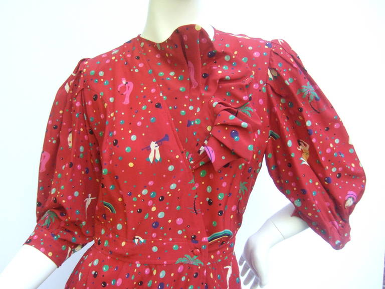 Emanuel Ungaro Paris Crimson Silk Circus Print Dress Size 6  c 1980 2