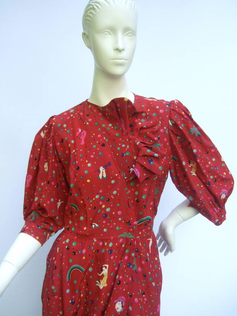 Emanuel Ungaro Paris Crimson Silk Circus Print Dress Size 6  c 1980 10