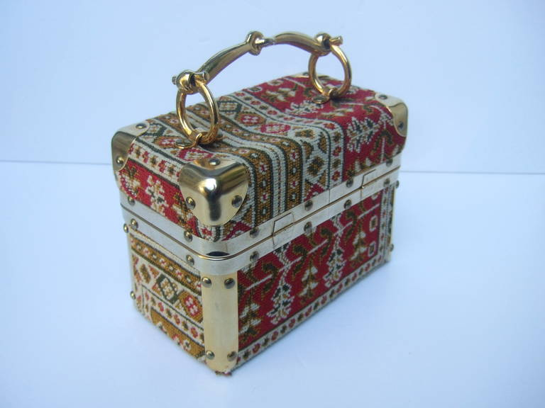 Saks Fifth Avenue Tapestry trunk style handbag Made in Italy c 1970