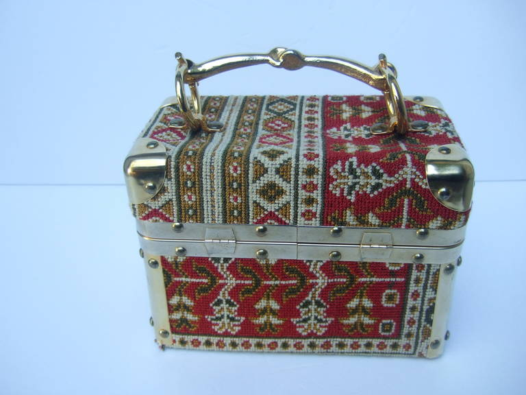 Gray Saks Fifth Avenue Tapestry Trunk Style Handbag Made in Italy c 1970 For Sale