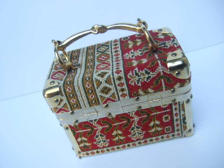 Women's Saks Fifth Avenue Tapestry Trunk Style Handbag Made in Italy c 1970 For Sale