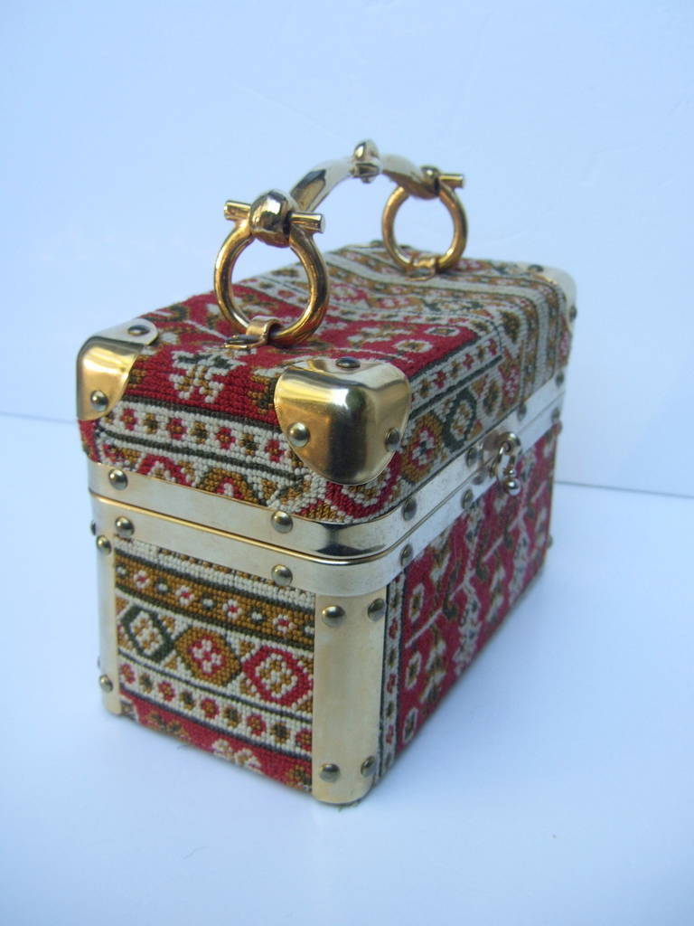 Saks Fifth Avenue Tapestry Trunk Style Handbag Made in Italy c 1970 In Excellent Condition For Sale In Santa Barbara, CA