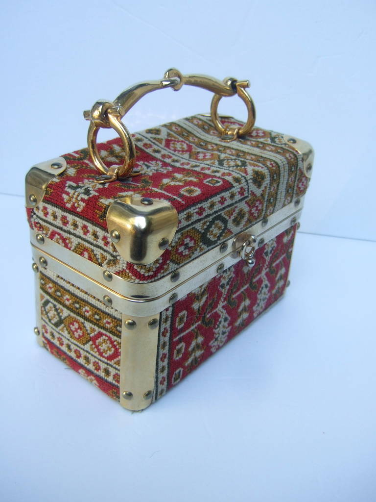 Saks Fifth Avenue Tapestry Trunk Style Handbag Made in Italy c 1970 For Sale 2