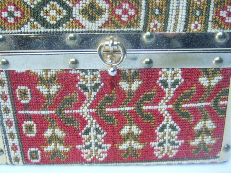 Saks Fifth Avenue Tapestry Trunk Style Handbag Made in Italy c 1970 For Sale 1
