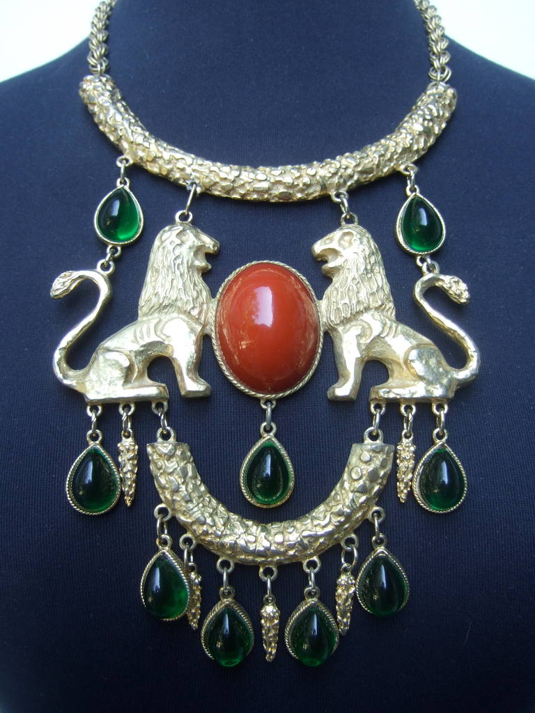 Extraordinary Massive Lion Cabochon Necklace Attributed to Donald Stannard For Sale 2