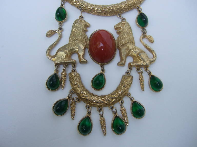 Extraordinary Massive Lion Cabochon Necklace Attributed to Donald Stannard For Sale 1