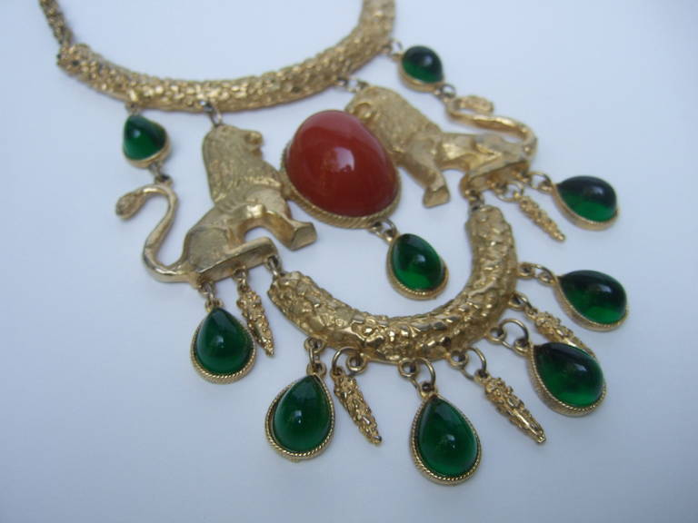 Women's Extraordinary Massive Lion Cabochon Necklace Attributed to Donald Stannard For Sale