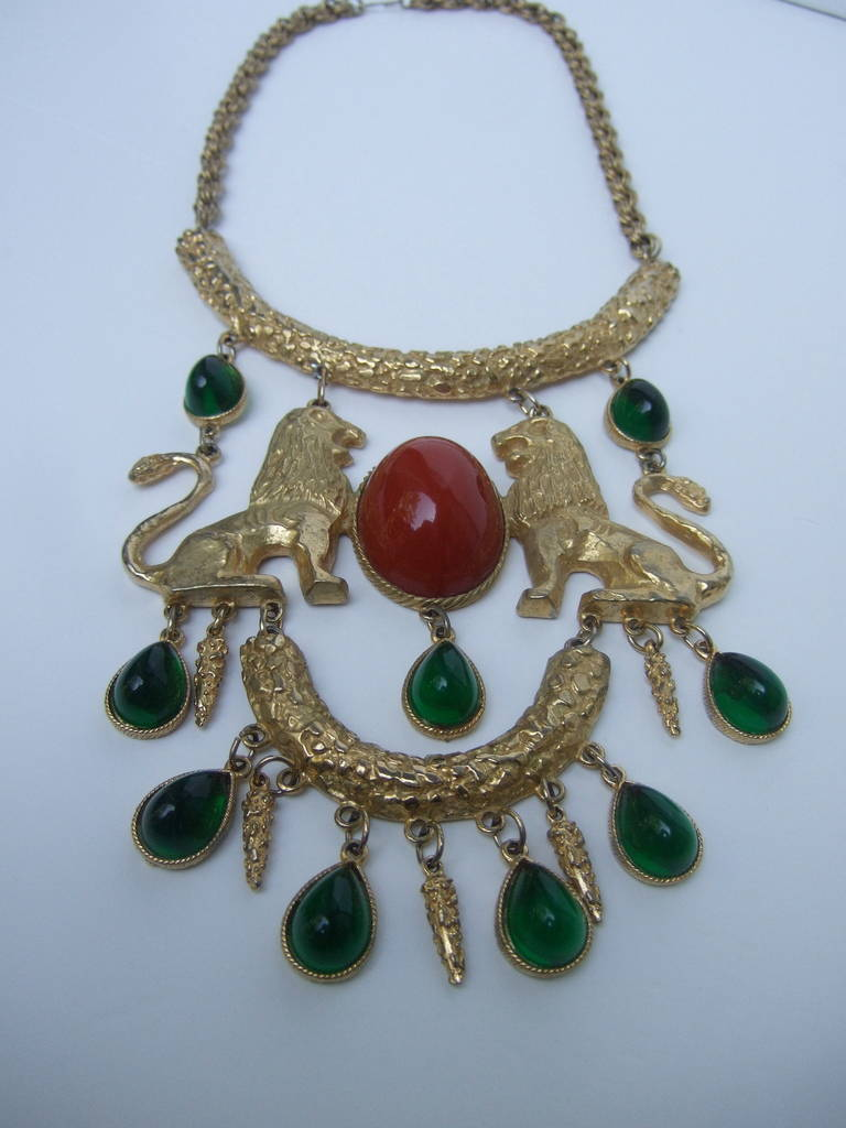 Extraordinary Massive Lion Cabochon Necklace Attributed to Donald Stannard In Excellent Condition For Sale In Santa Barbara, CA