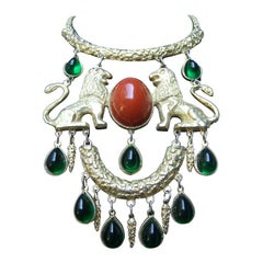 Extraordinary Massive Lion Cabochon Necklace Attributed to Donald Stannard