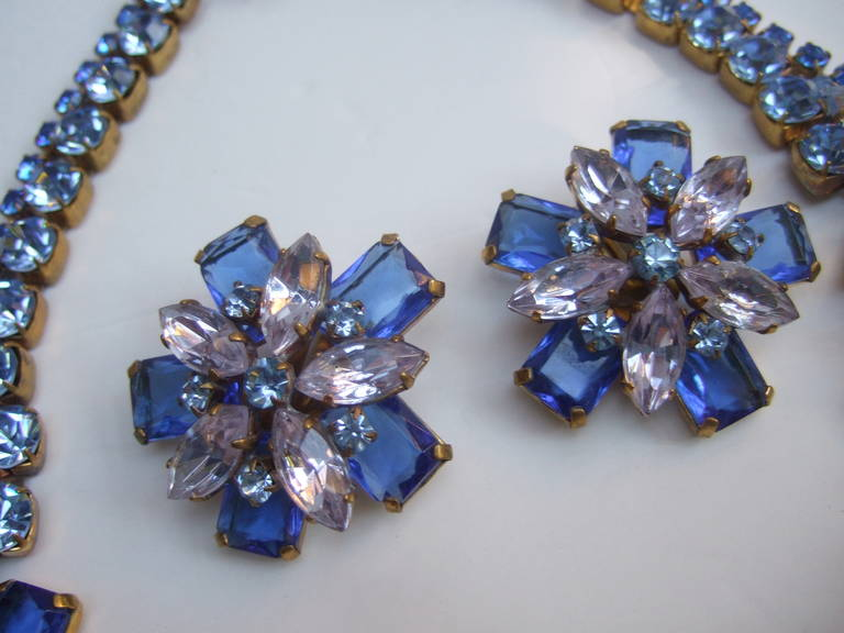 Spectacular Massive Crystal Necklace & Earring Set Designed by Lillien Czech 7