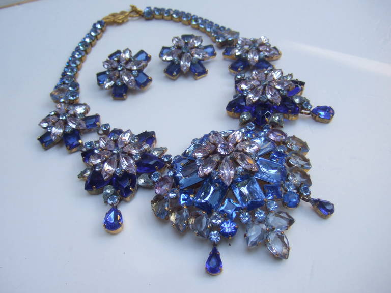 Spectacular Massive Crystal Necklace & Earring Set Designed by Lillien Czech 6