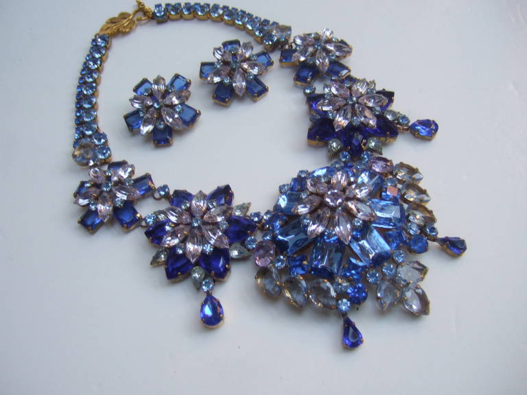 Spectacular Massive Crystal Necklace & Earring Set Designed by Lillien Czech 2