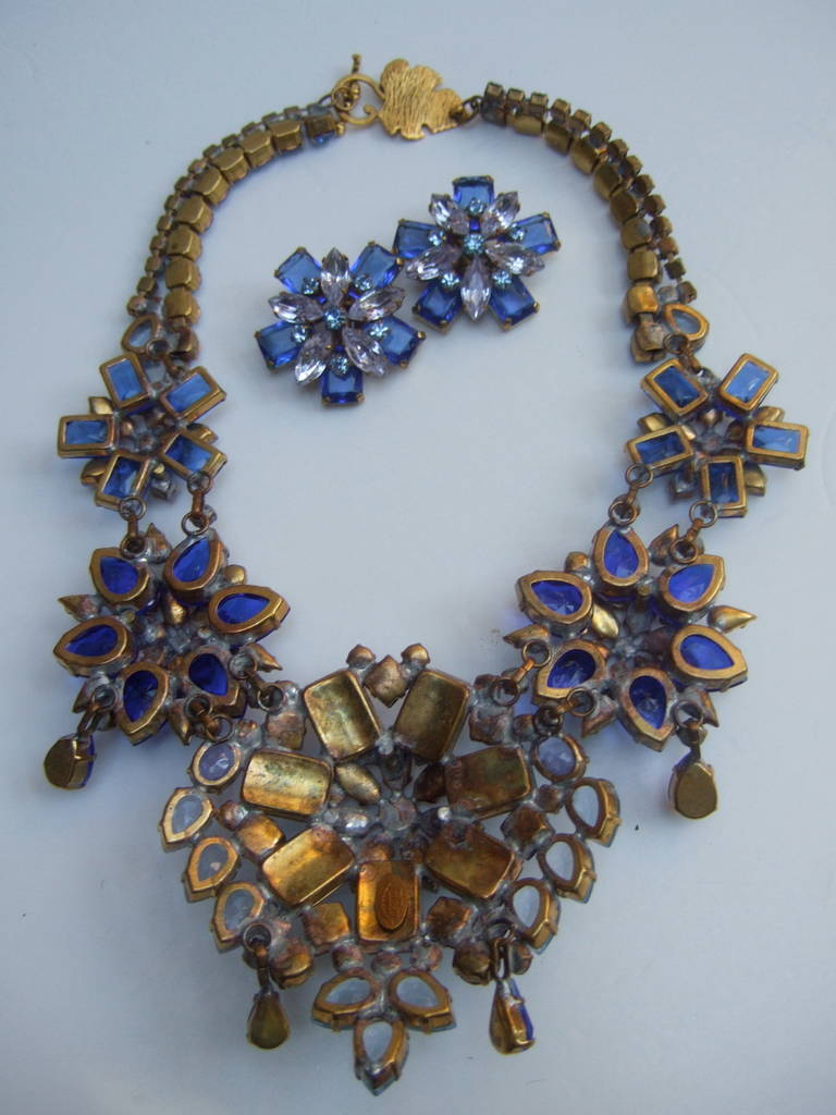 Spectacular Massive Crystal Necklace & Earring Set Designed by Lillien Czech 10