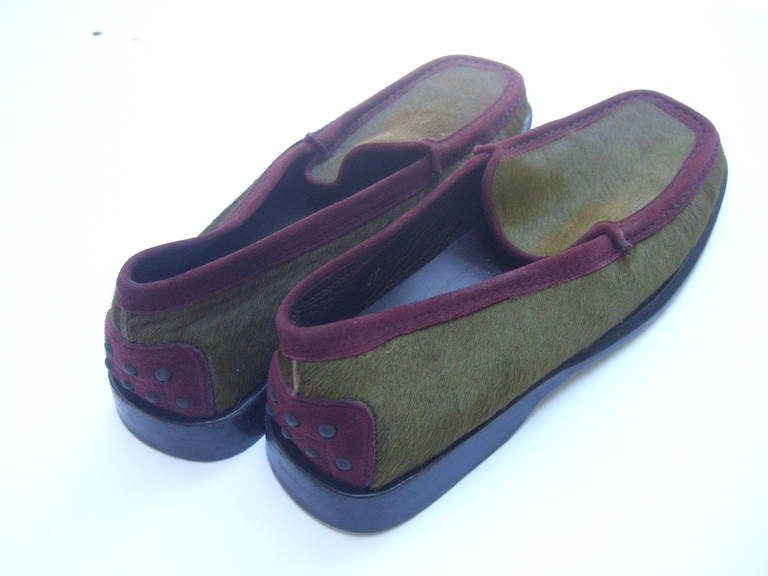 Black Tod's Exotic Olive Green & Burgundy Pony Fur Driving Shoes Size 37 For Sale