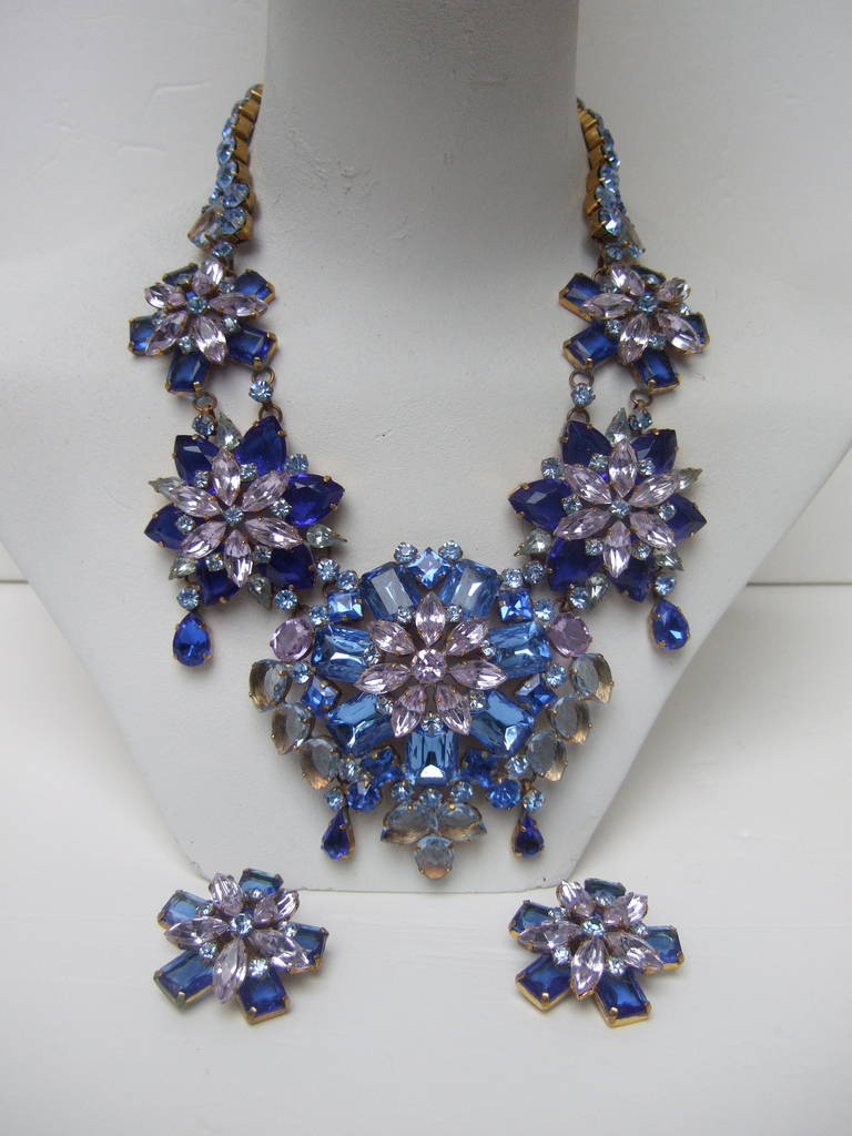 Spectacular Massive Crystal Necklace & Earring Set Designed by Lillien Czech 5