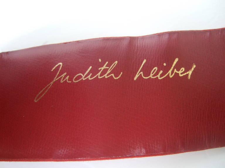 Judith Leiber Massive Figural Gilt Metal Door Knocker Ruby Satin Belt 6
