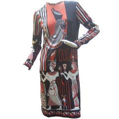 Paganne Egyptian Graphic Print Knit Dress c 1970