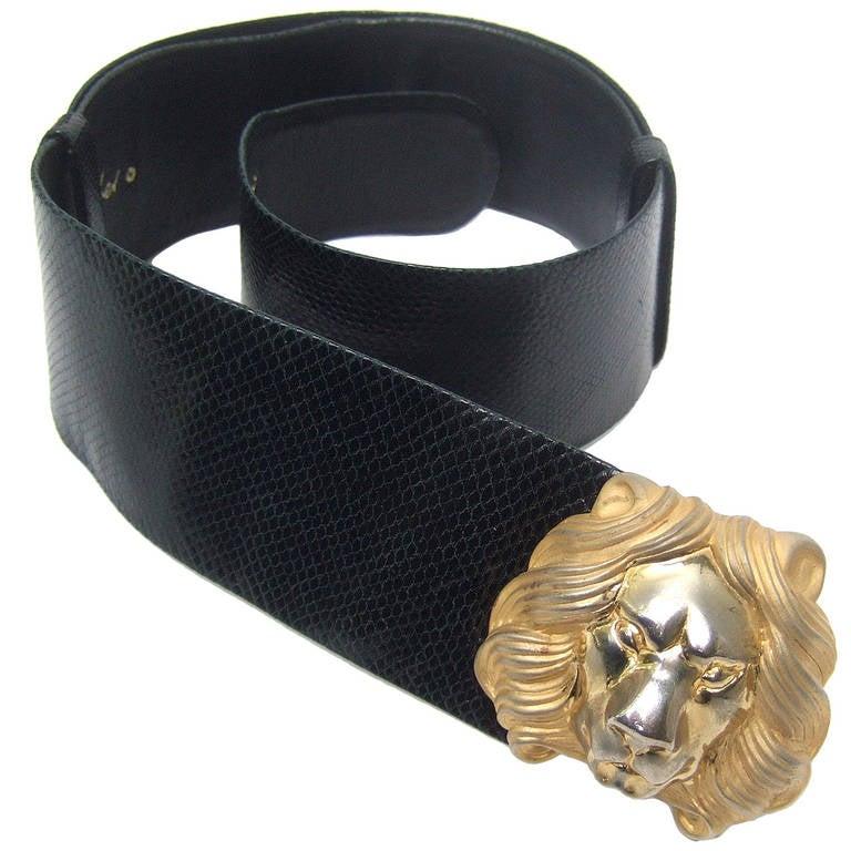 Judith Leiber Lion Buckle Black Embossed Leather Belt