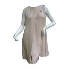 Bill Blass Blush Pink Silk Sleeveless Sheath Dress c 1970