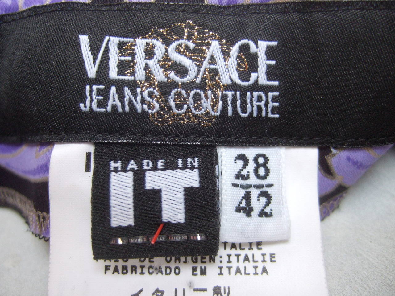 Versace Iconic Medusa Graphic Print Stretch Jeans Size 28 For Sale 4