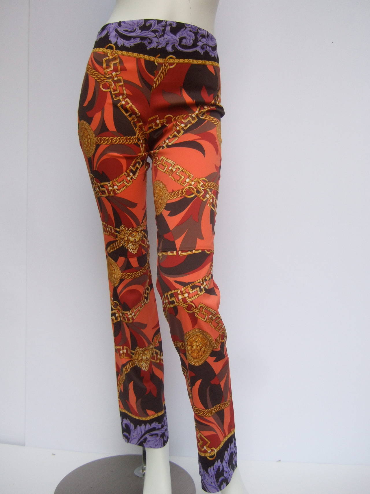 Versace Iconic Medusa Graphic Print Stretch Jeans Size 28 For Sale 5