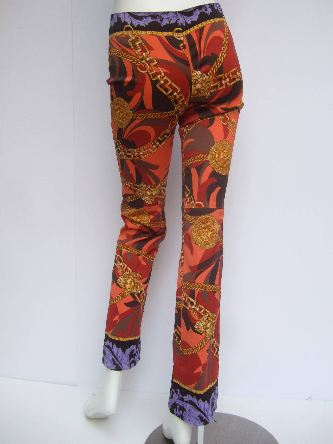 Versace Iconic Medusa Graphic Print Stretch Jeans Size 28 For Sale 1