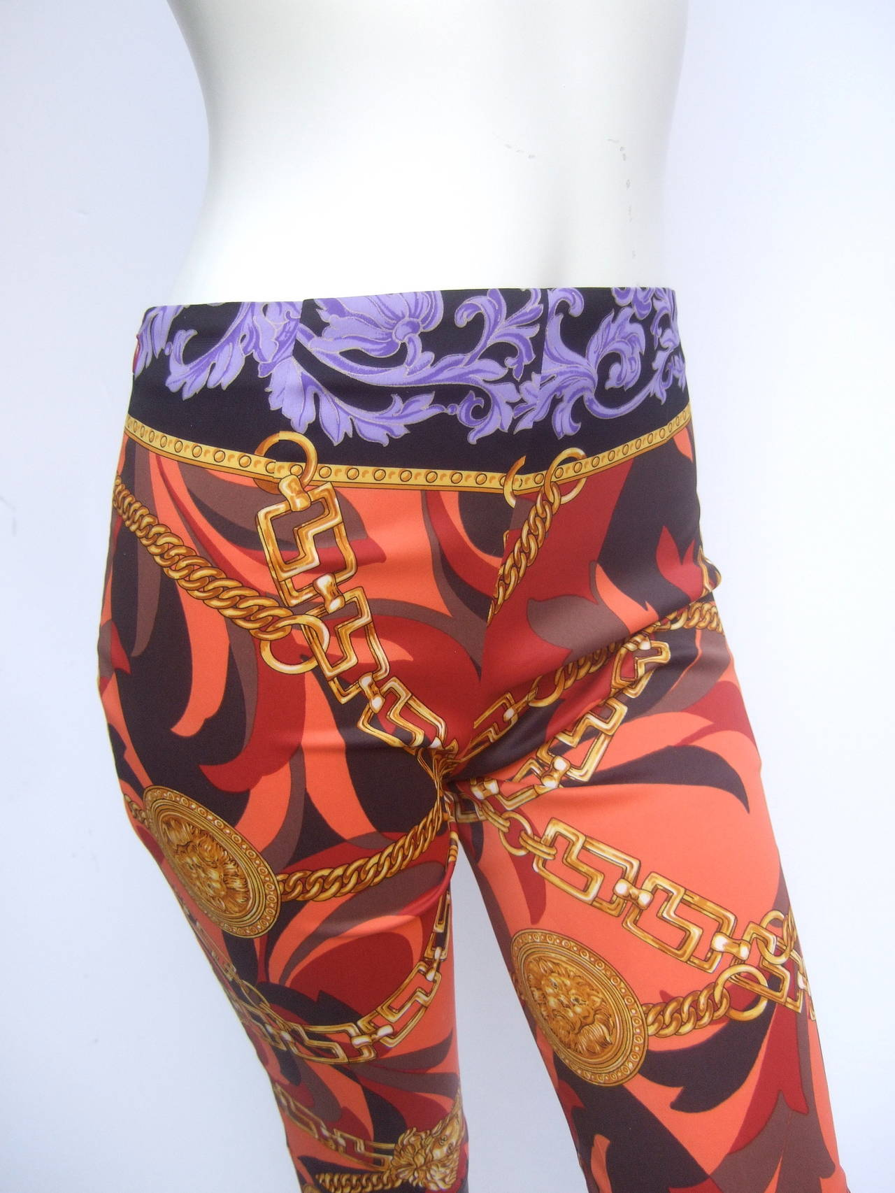Brown Versace Iconic Medusa Graphic Print Stretch Jeans Size 28 For Sale
