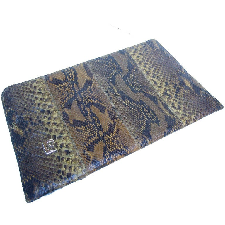 Pierre Cardin Sleek Python Versatile Clutch Bag c 1970 For Sale