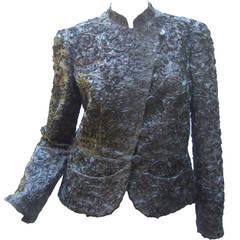 Armani Stunning Pewter Satin Ribbon Evening Jacket Size 8