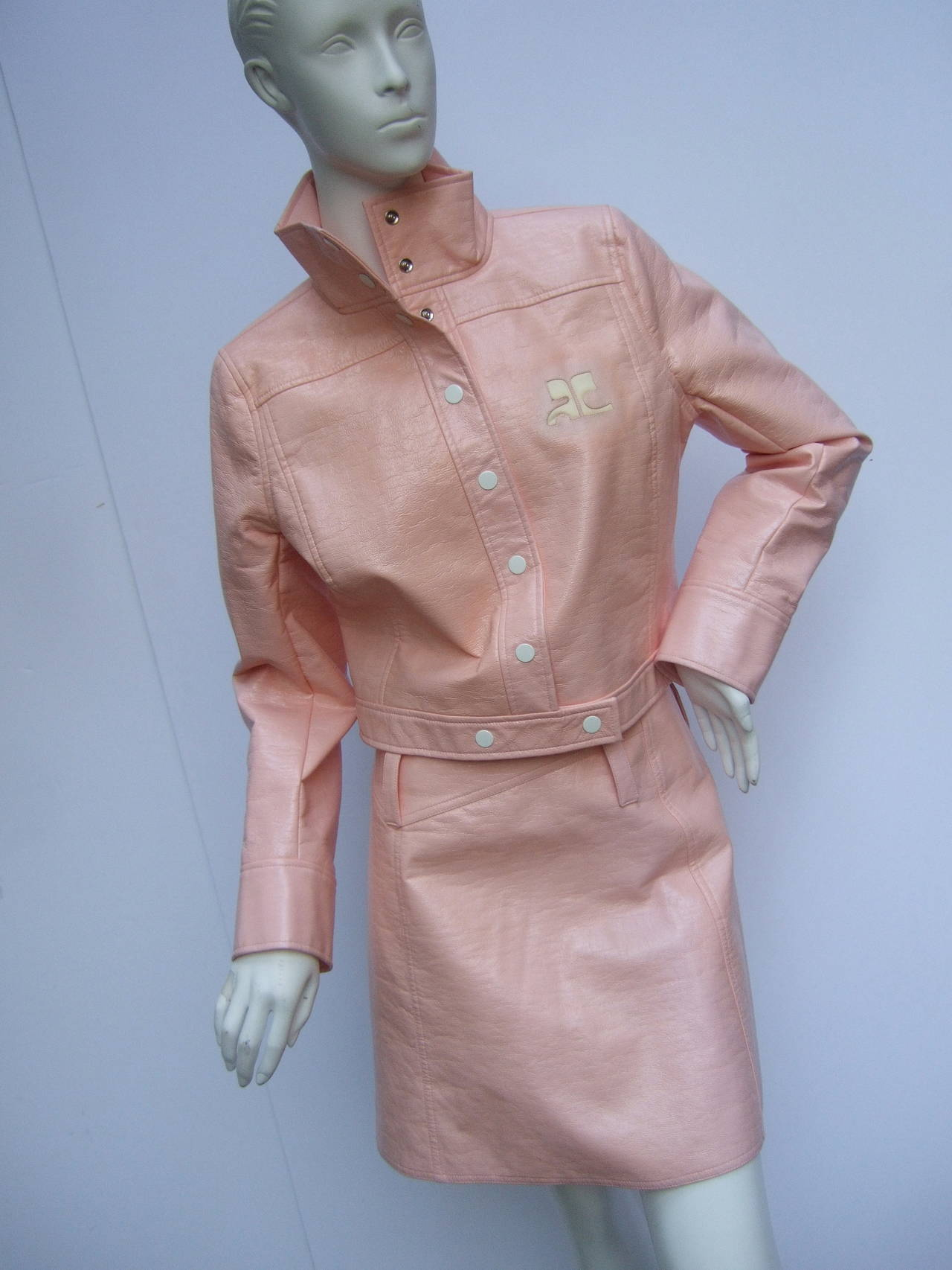 Courreges Paris Iconic Mod Pink Vinyl Jacket and Skirt Suit Size ...