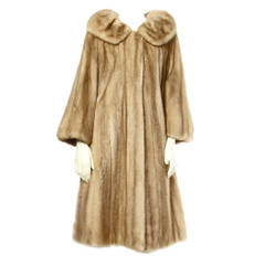 Pristine Autumn Haze Mink Fur Swing Coat with a Giant Pop Up Collar 1960s 60s