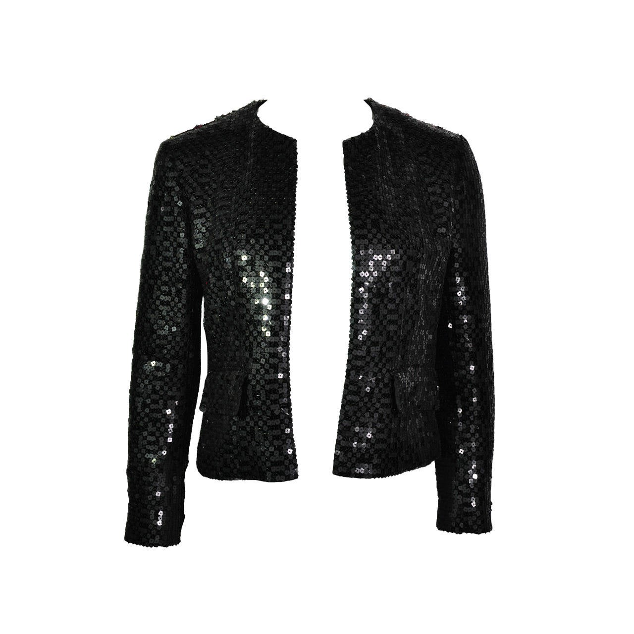 Chanel 02A Two Tone Sequined Tweed Jacket 1