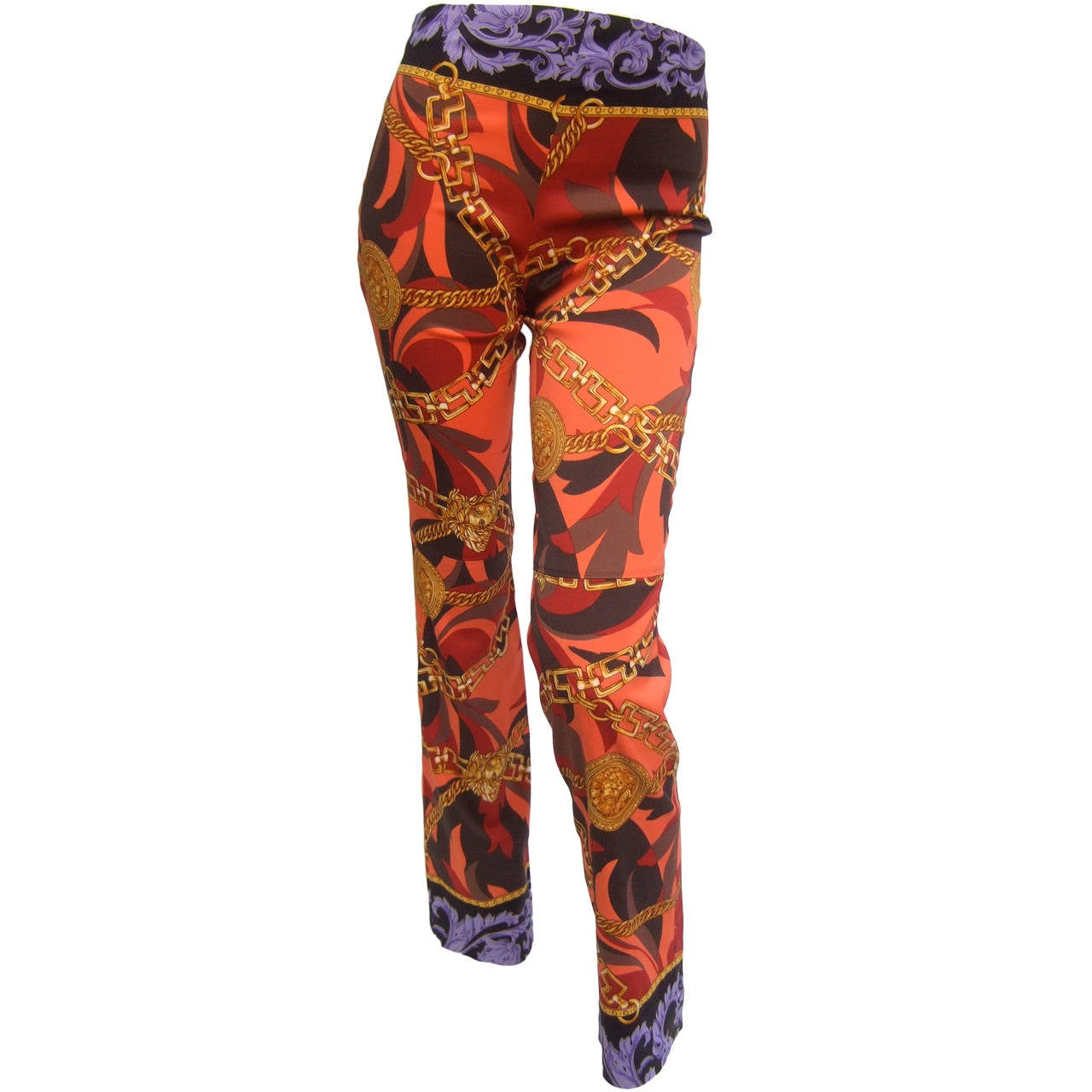 Versace Iconic Medusa Graphic Print Stretch Jeans Size 28 For Sale