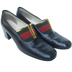 Gucci Italy Ebony Leather Striped Trim Shoes Size 38 AA c 1970