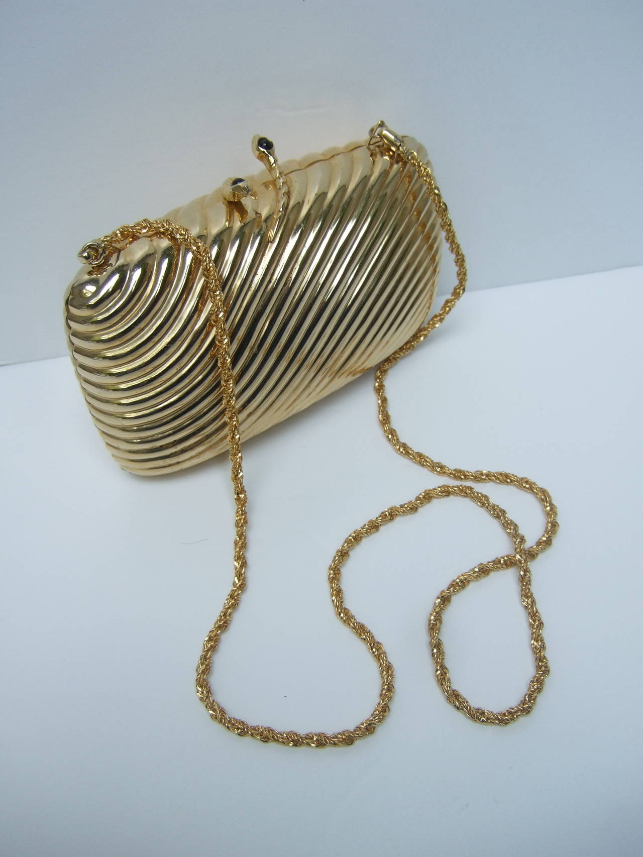 Fabulous Saks Fifth Avenue Opulent Gilt Metal Serpent Evening Bag Made in  NF36